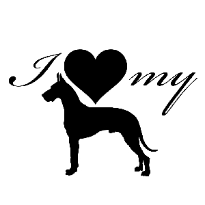 I Love My Great Dane Dog Silhouette Heart Vinyl Sticker Car Decal